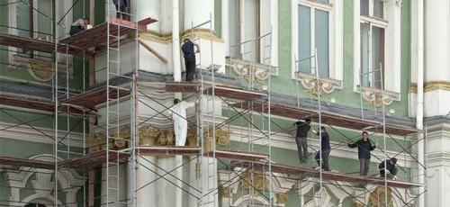 Фасады зданий в центре Уфы по пути следования делегации ШОС и БРИКС приводят в порядок